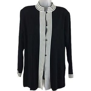 Exclusively Misook Black Stripe Trim Sweater Tunic